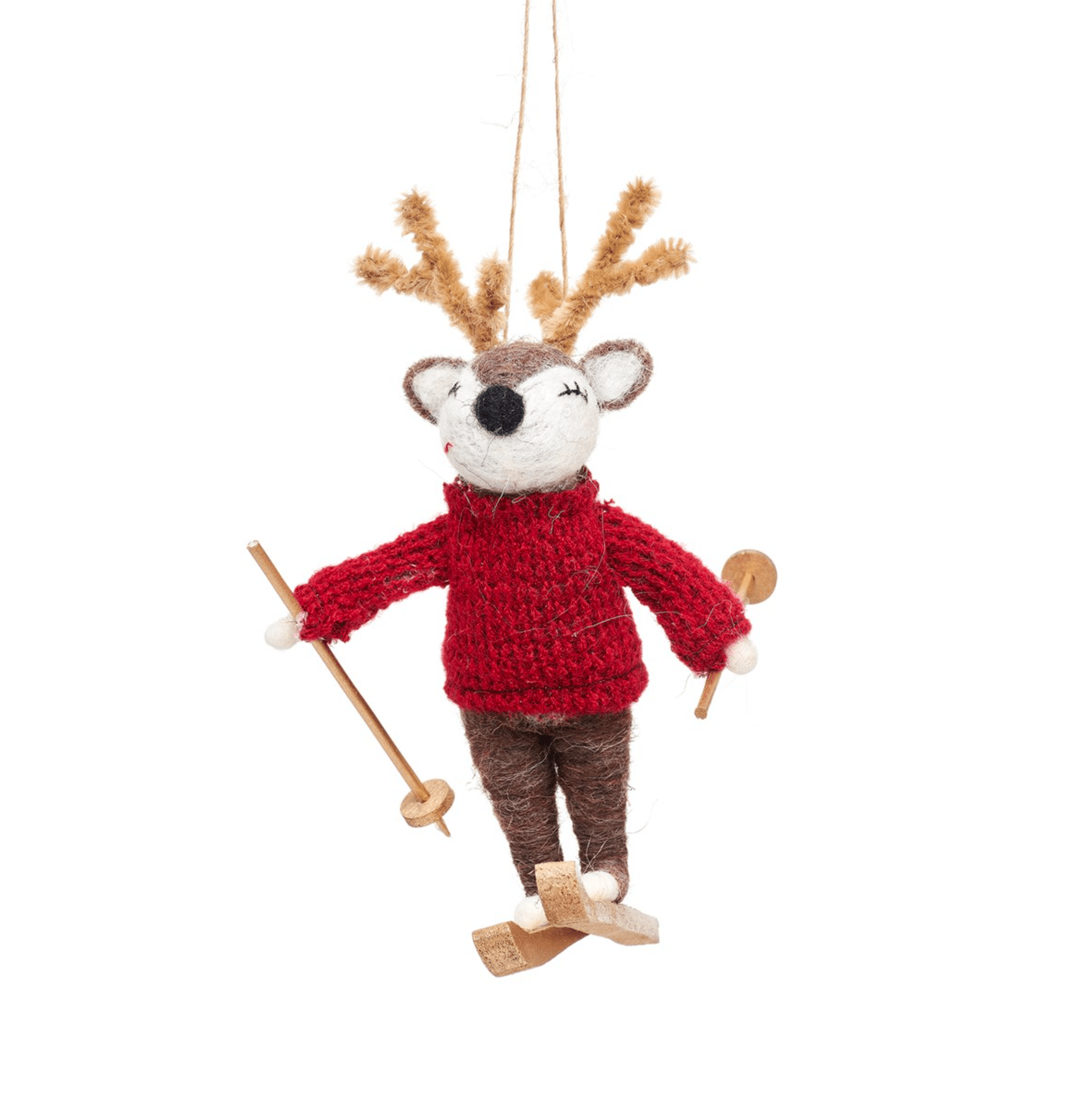 Deer On Skis Felt Decoration By Sass & Belle