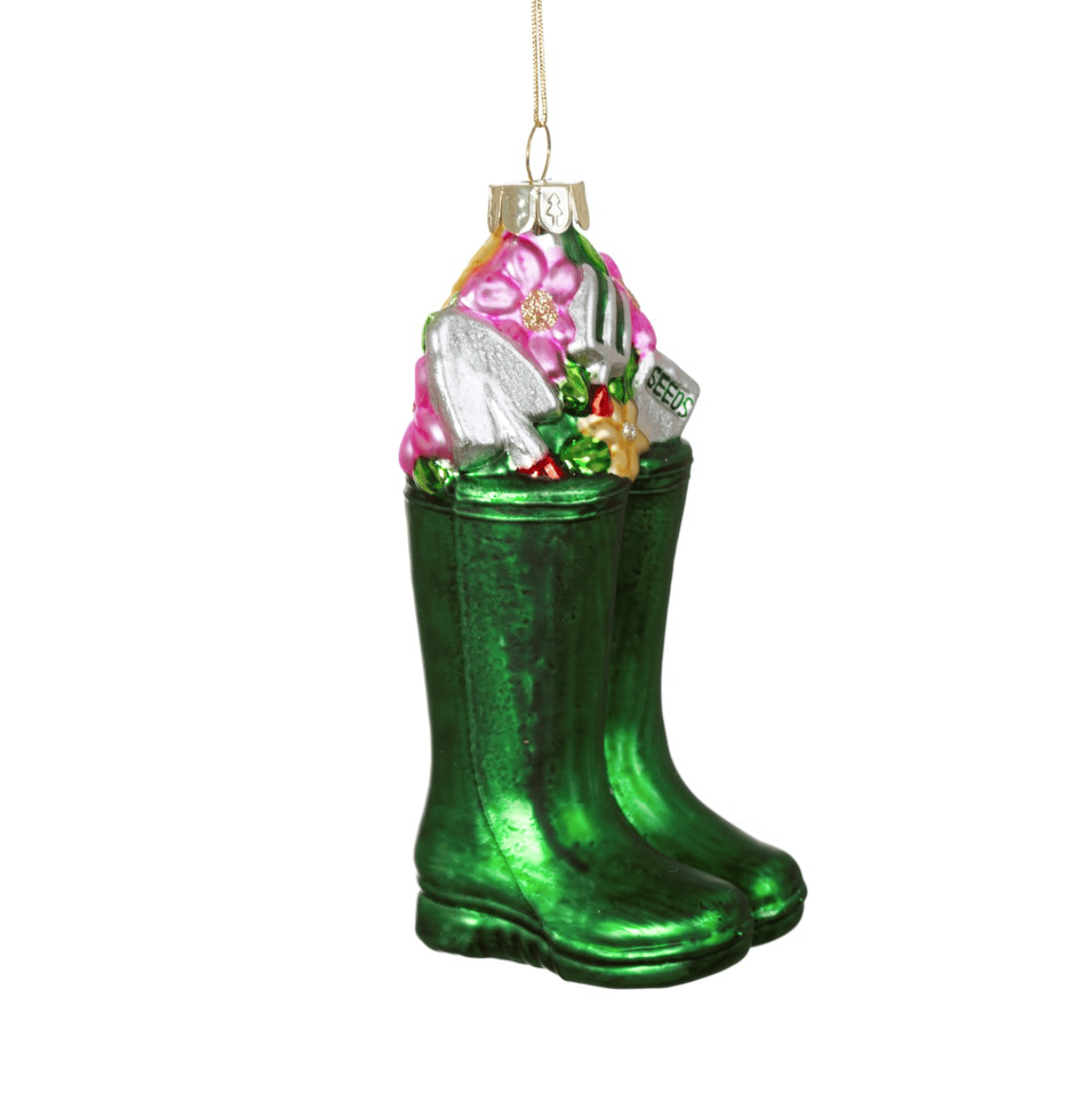Green Welly Boots Decorative Bauble By Sass & Belle