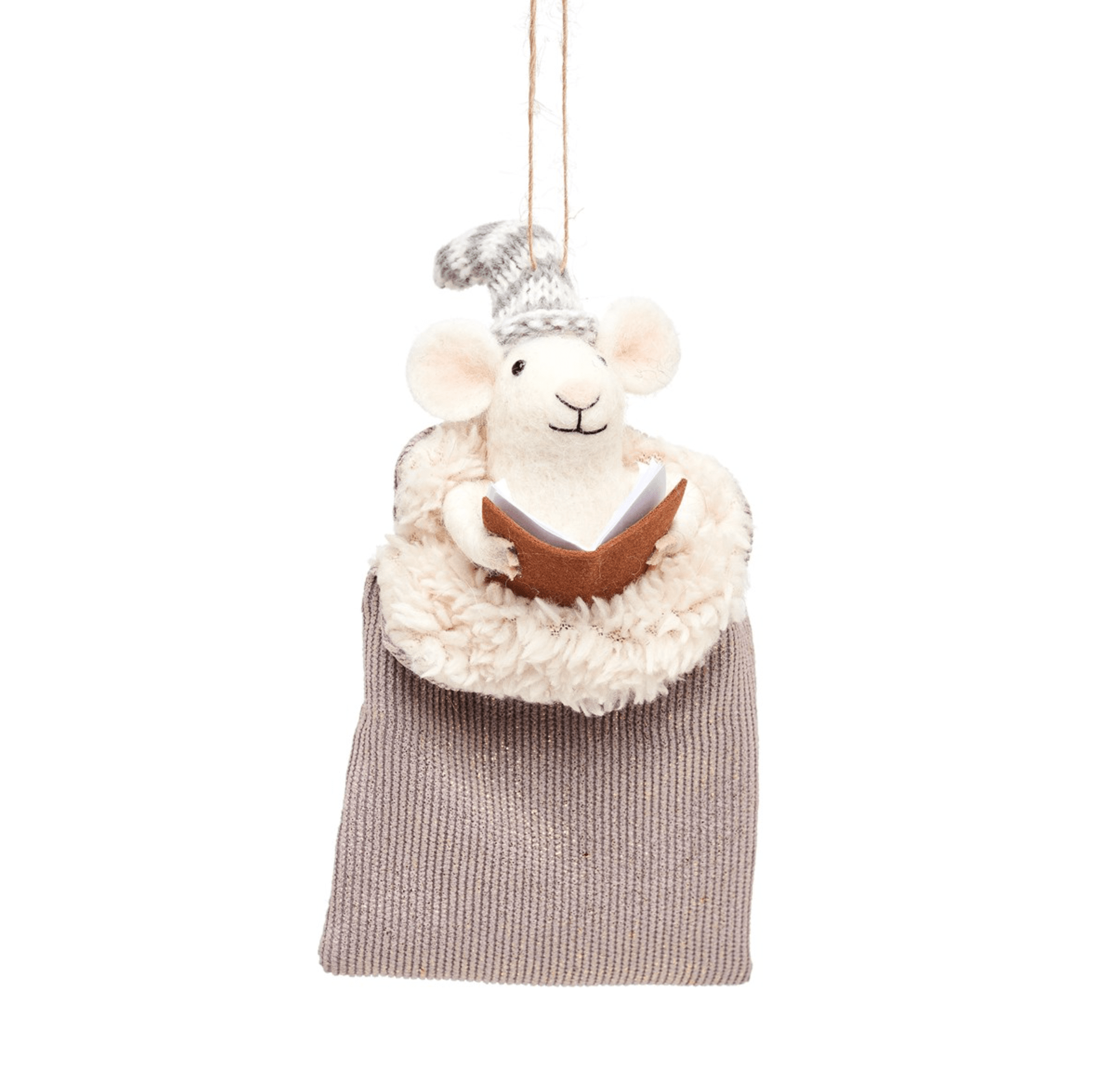 Mouse In Sleeping Bag Felt Decoration By Sass & Belle
