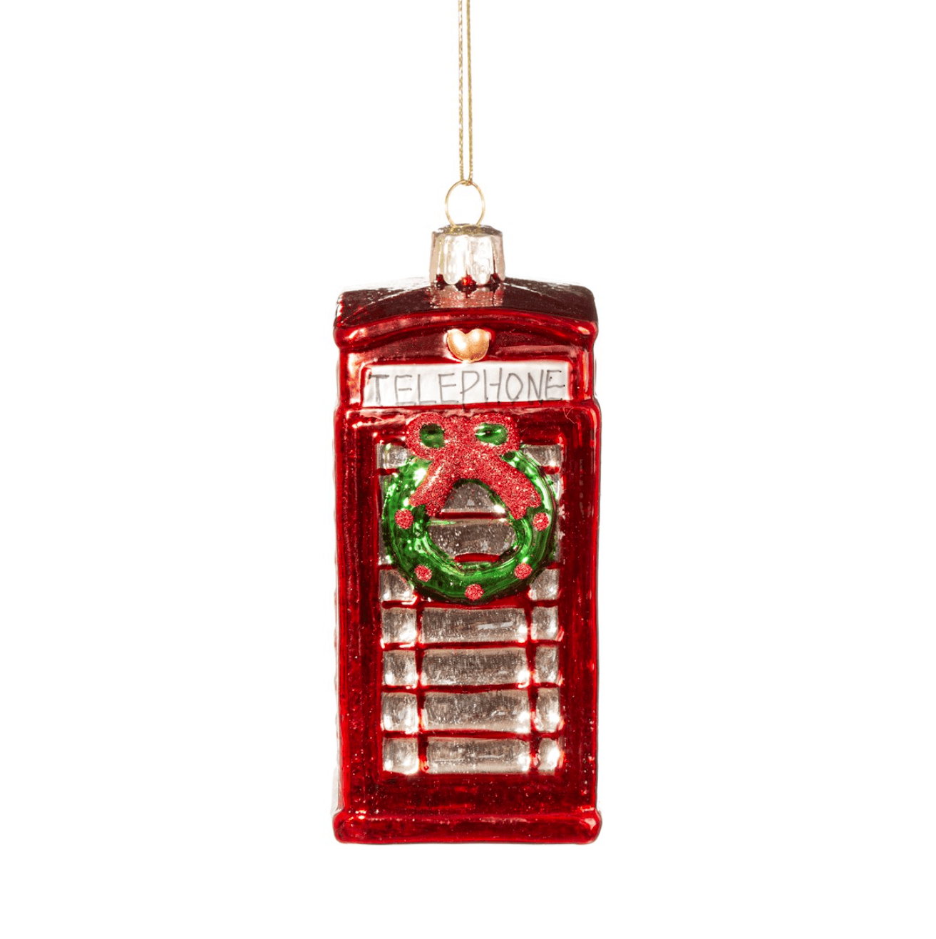 Red Telephone Box With Wreath By Sass & Belle