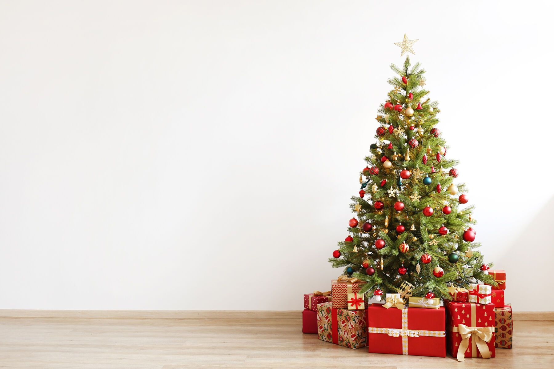Decorated Christmas Trees With Presents